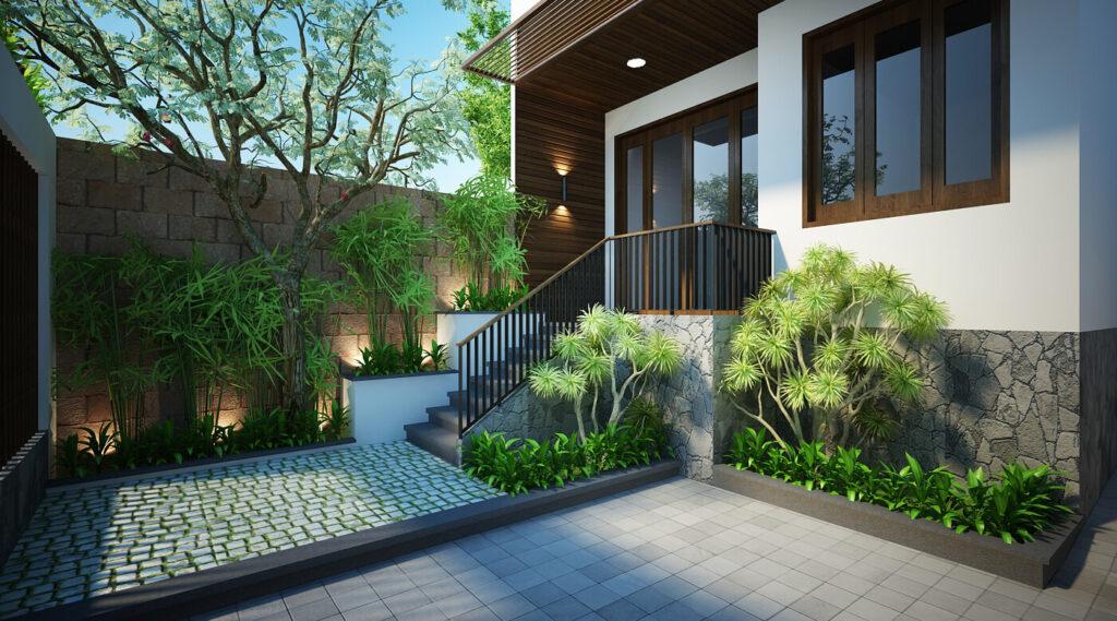 Thiết kế ngoại thất trước nhà cùng với cây xanh