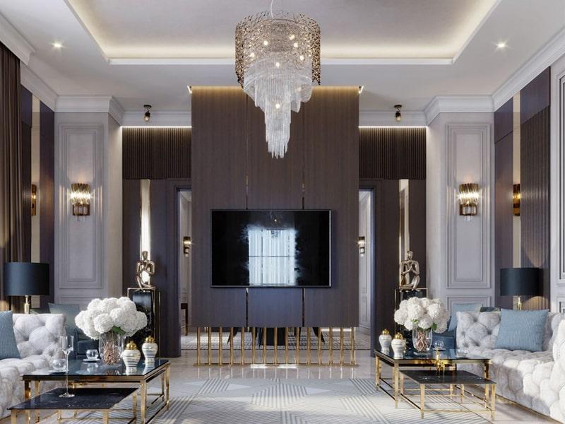 Phòng khách theo kiến trúc tân cổ điển đặc trưng với lối thiết kế đối xứng
