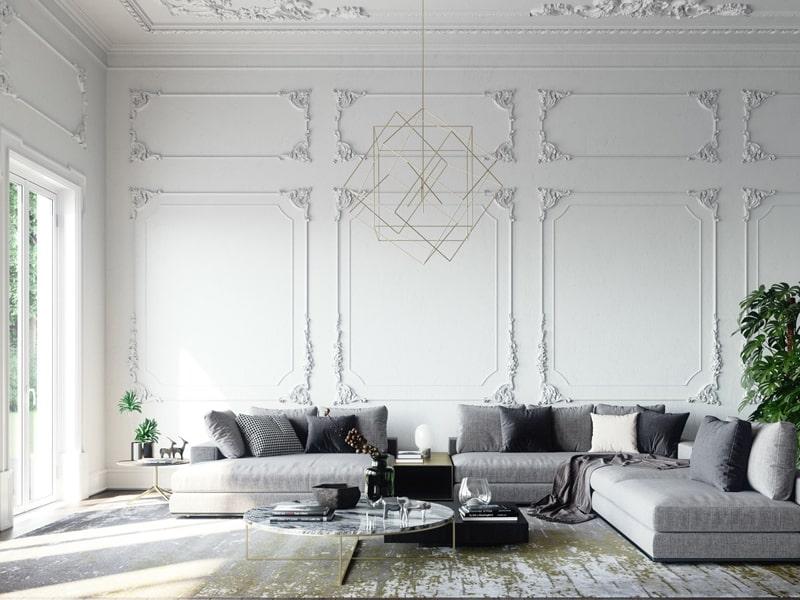 Căn phòng kiến trúc tân cổ điển với gam màu trắng xám sang trọng