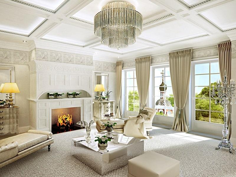Phong cách thiết kế cổ điển là gì? Phòng khách sang trọng với đèn chùm đặc trưng. Ảnh sưu tầm