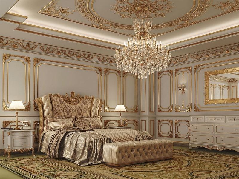 Phong cách thiết kế cổ điển là gì? Phòng ngủ theo phong cách cổ điển có hoa văn tinh xảo. Ảnh sưu tầm