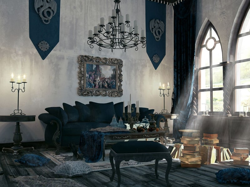 Những ngọn nến khiến cho căn phòng theo kiến trúc Gothic trở nên lung linh, huyền ảo hơn