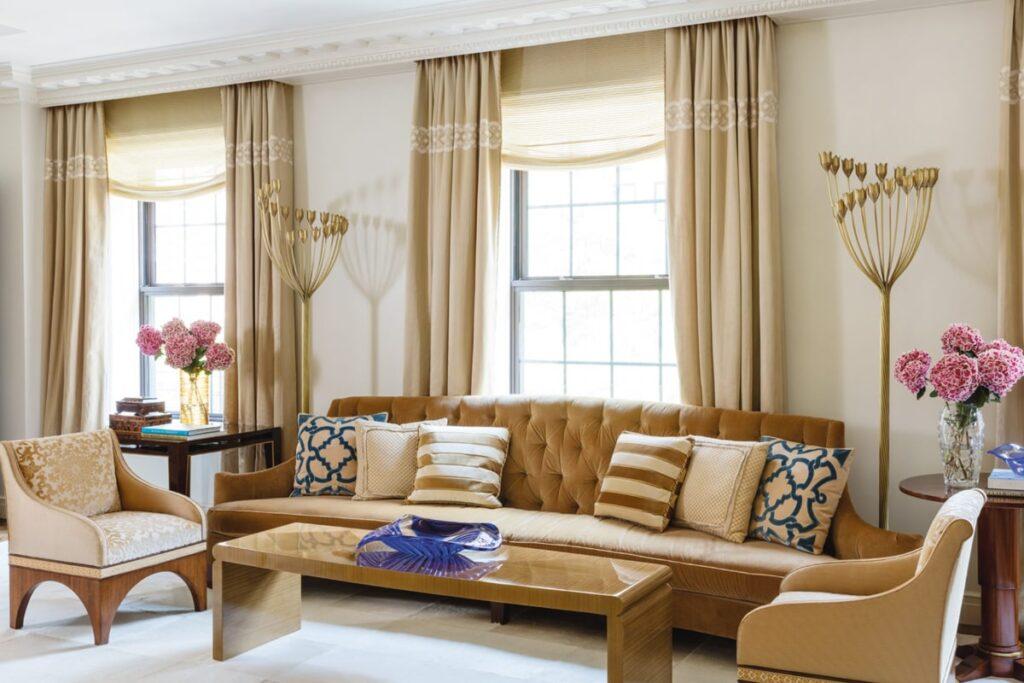 Phòng khách với tone màu ấm theo kiến trúc Art Deco (Ảnh sưu tầm)