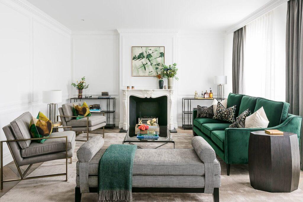 Sự phối hợp hoàn hảo giữa sắc xanh và xám trong phòng khách theo phong cách Art Deco (Ảnh sưu tầm)