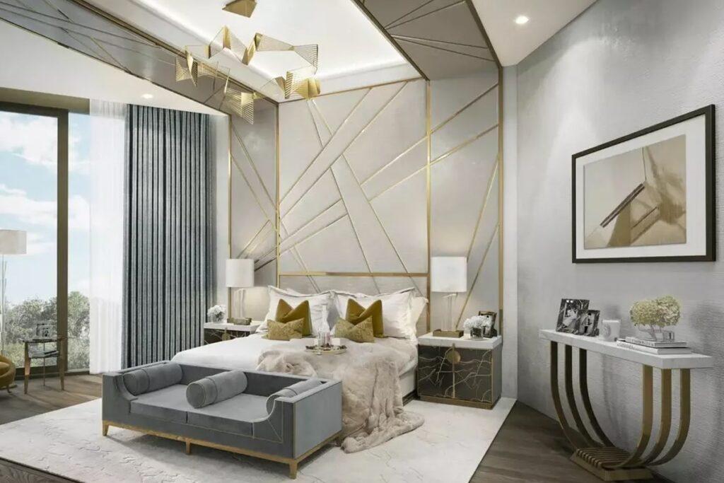 Phòng ngủ hiện đại, đầy đủ tiện nghi theo phong cách Art Deco (Ảnh sưu tầm)