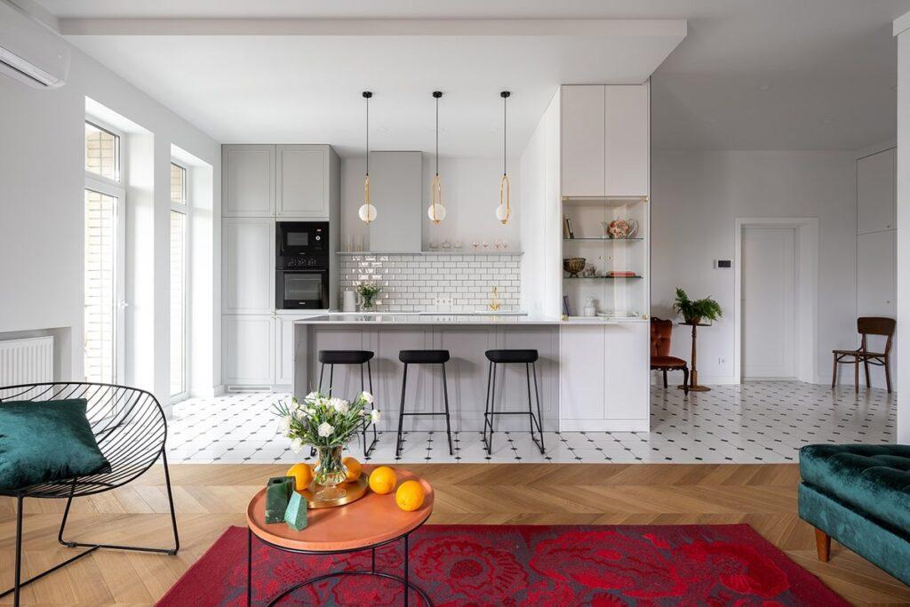 Sự pha trộn hài hòa giữa hiện đại và Vintage trong phòng bếp. (Ảnh sưu tầm)