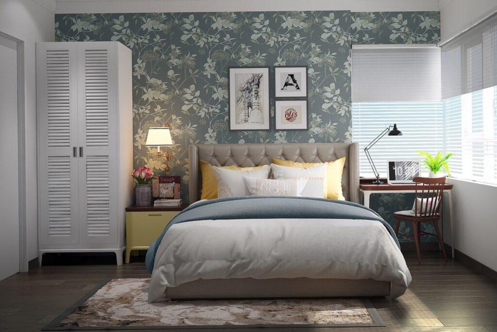 Những bức tường được dán hoa lá trong phong cách Vintage. (Ảnh sưu tầm)