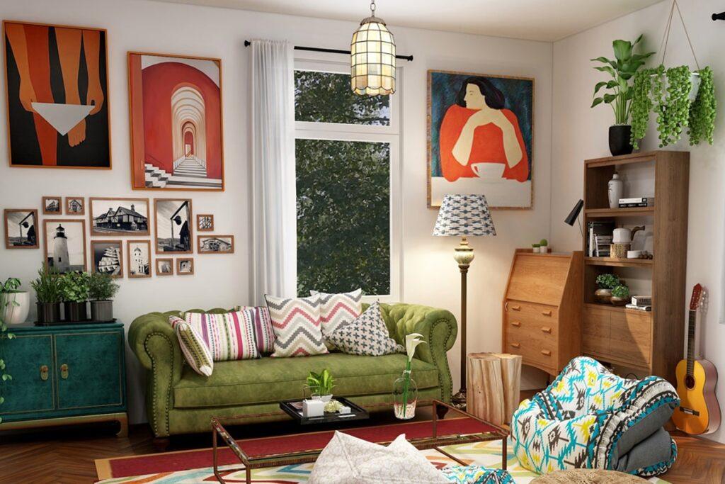 Những bức tường đầy màu sắc trong không gian Bohemian. (Ảnh sưu tầm)