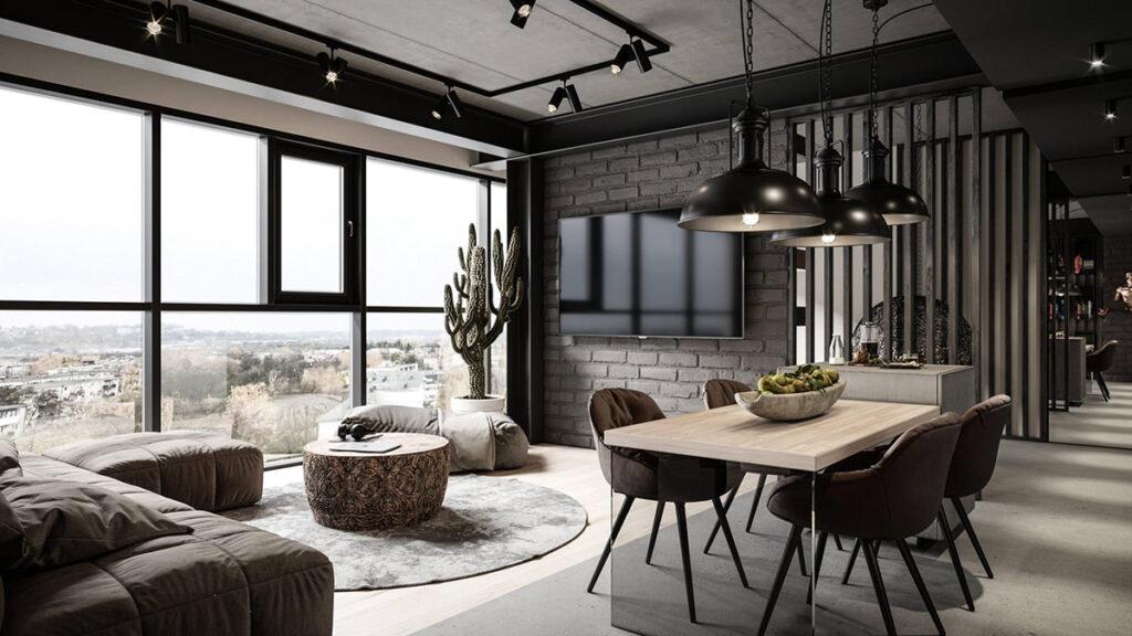 Thiết kế nội thất công nghiệp nổi bật với những bức tường gạch cổ và nhiều chi tiết ấn tượng. Ảnh sưu tầm.