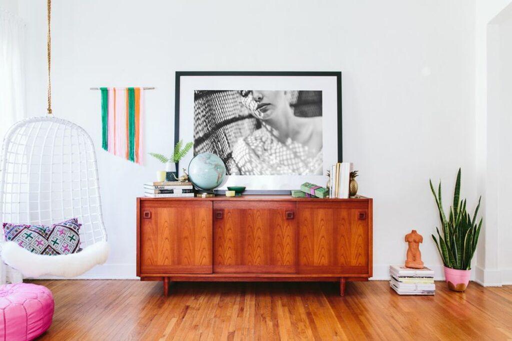Sàn gỗ được sử dụng trong phong cách thiết Retro. (Ảnh sưu tầm)