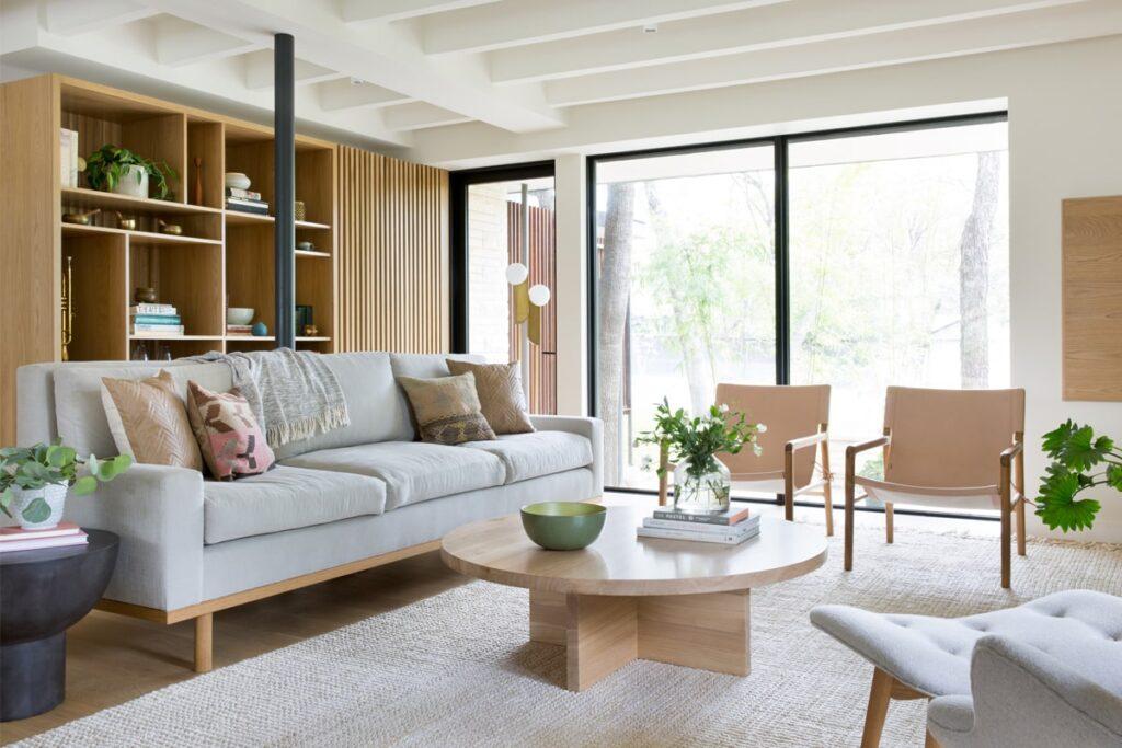 Phòng khách rộng rãi theo phong cách thiết kế tối giản (Ảnh sưu tầm)