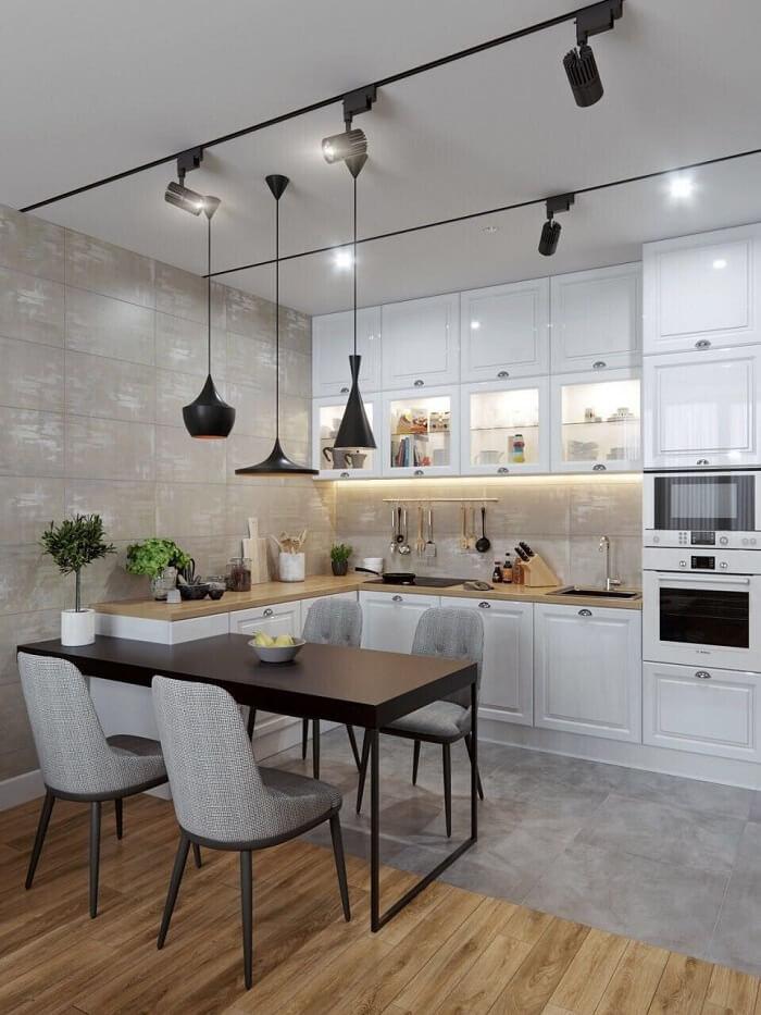 Mẫu thiết kế nội thất phòng bếp căn hộ 55m2 thênh thang như 70m2. Ảnh sưu tầm.
