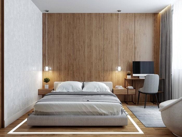 Mẫu thiết kế nội thất phòng ngủ căn hộ 55m2 thênh thang như 70m2. Ảnh sưu tầm.