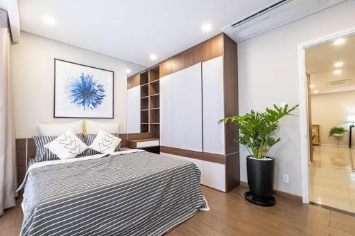 Mẫu thiết kế nội thất phòng ngủ căn hộ 55m2 1 phòng ngủ. Ảnh sưu tầm.