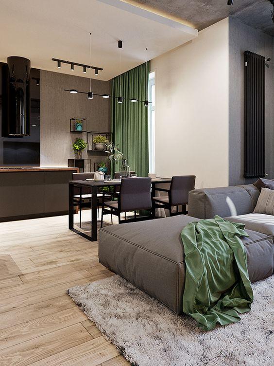 Bạn cũng có thể thiết kế phòng bếp và phòng khách thông với nhau nhằm tiết kiệm diện tích