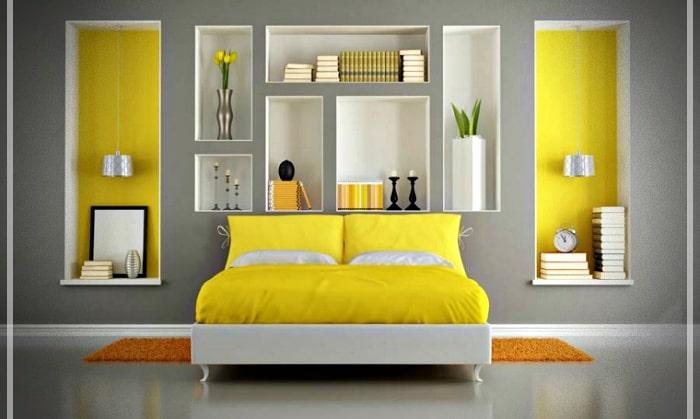 Bạn cũng có thể sử dụng màu vàng để tạo điểm nhấn và phân chia các không gian trong căn hộ