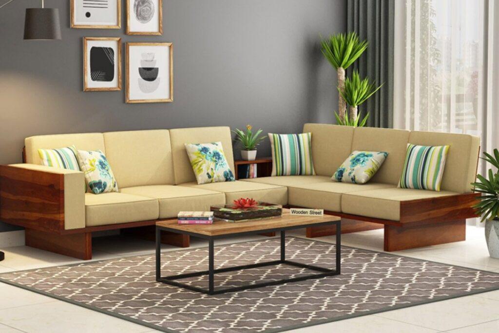 Sofa gỗ sồi tạo cảm giác mới lạ cho phòng khách. (Ảnh sưu tầm)