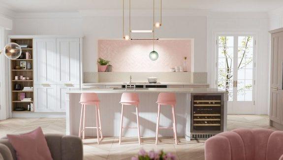 Màu hồng kết hợp với trắng sẽ là lựa chọn tuyệt vời dành cho các nữ chủ nhân mệnh Thổ
