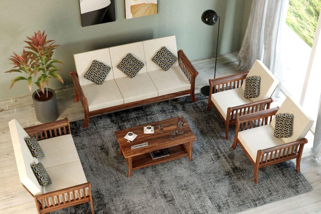 Nội thất phòng khách bằng gỗ tự nhiên đơn giản, tinh tế. (Ảnh sưu tầm)