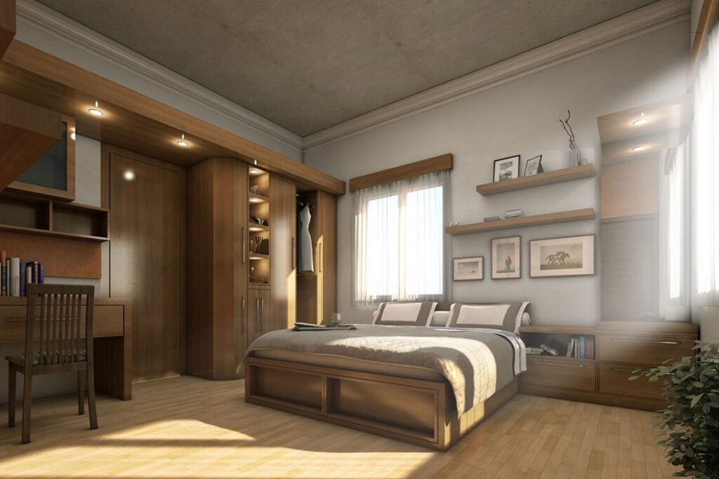 Phòng ngủ sang trọng với nội thất gỗ tự nhiên. (Ảnh sưu tầm)
