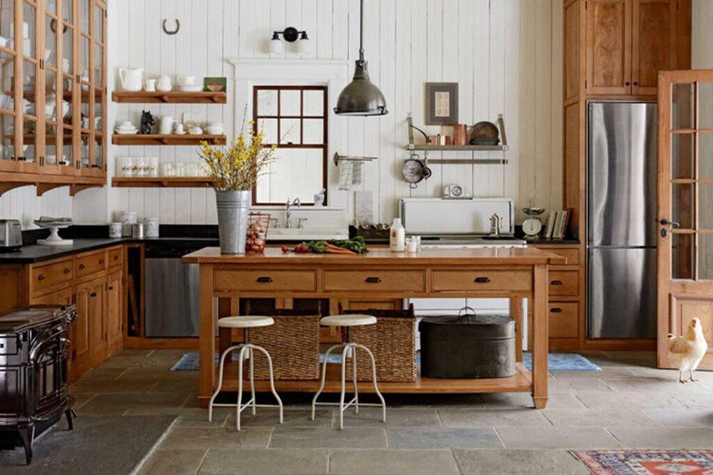 Các đồ nội thất bằng gỗ được sử dụng nhiều trong kiến trúc theo phong cách đồng quê. Ảnh sưu tầm