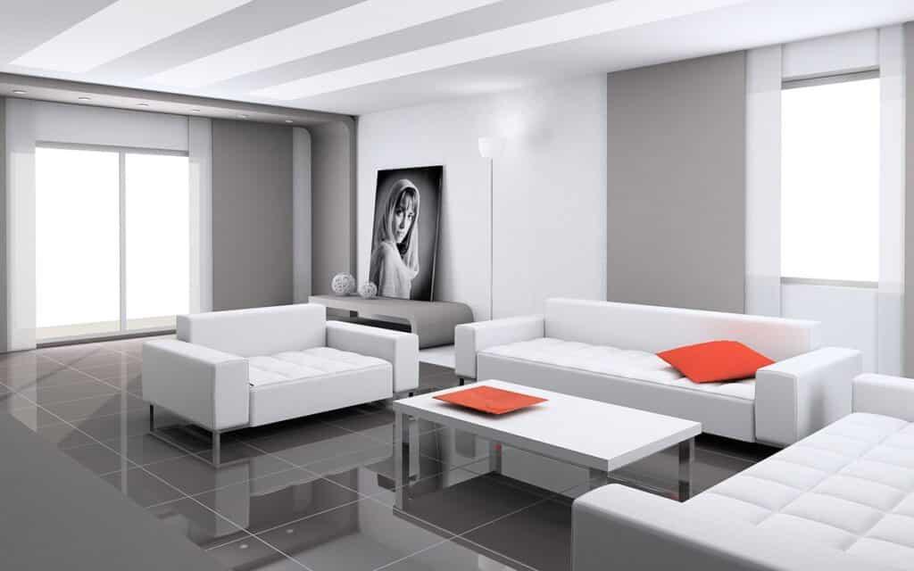 Màu sắc đơn giản như trắng, đen, xám được ưa chuộng trong phong cách Hitech. Ảnh minh họa sưu tầm