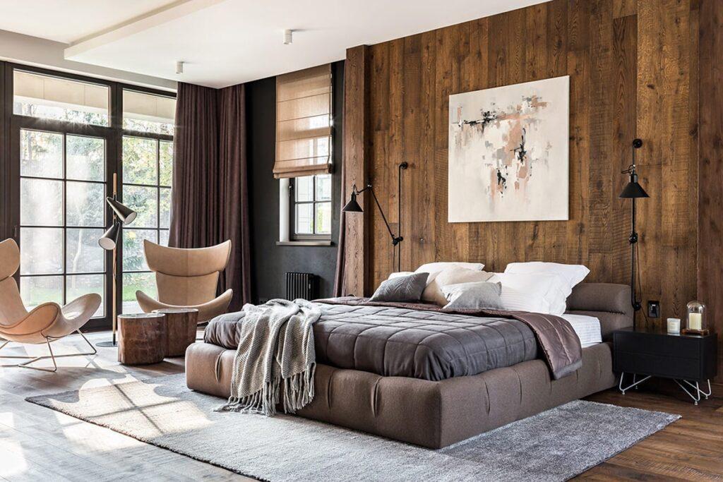 Phòng ngủ theo phong cách thiết kế Rustic với gam màu nâu ấm áp