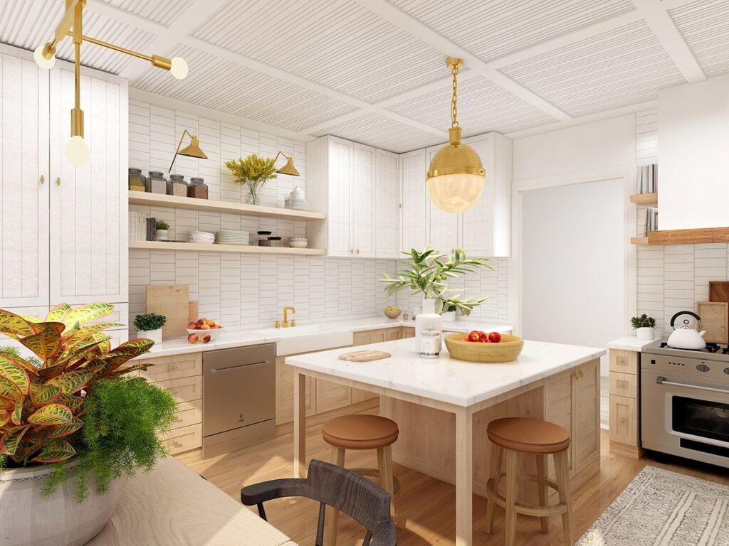 Cây xanh thường được sử dụng trong trang trí nhà bếp