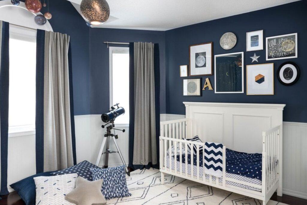 Phòng ngủ cho em bé theo phong thủy mệnh Thủy với màu xanh đặc trưng