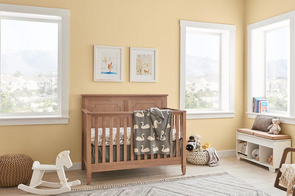 Màu vàng được sử dụng nhiều trong phòng của các bé mang mệnh Thổ