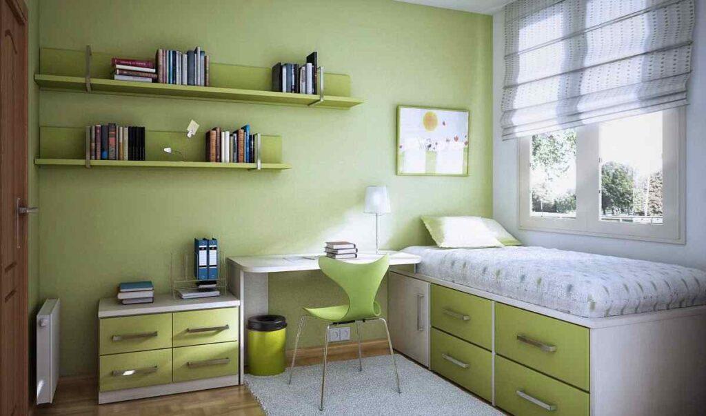 Màu xanh lục giúp không gian phòng học nhẹ nhàng, thư giãn hơn
