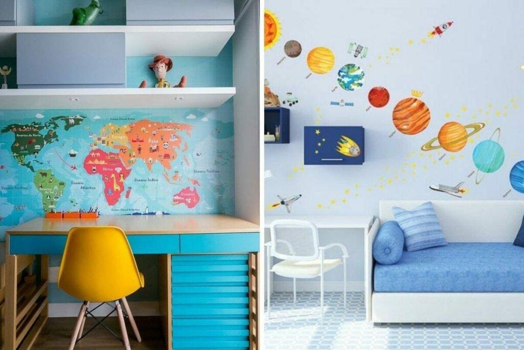 Phòng học cho bé trai thường nổi bật với màu xanh nước biển