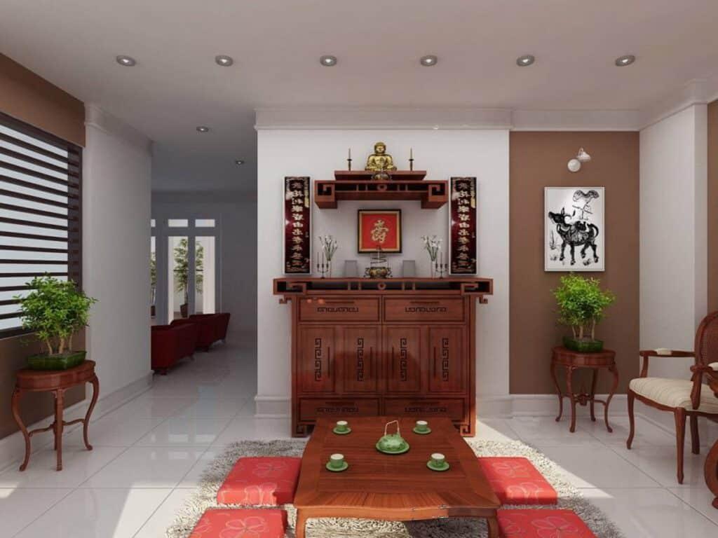 Hướng đặt bàn thờ tốt nhất là hướng đối diện cửa ra vào