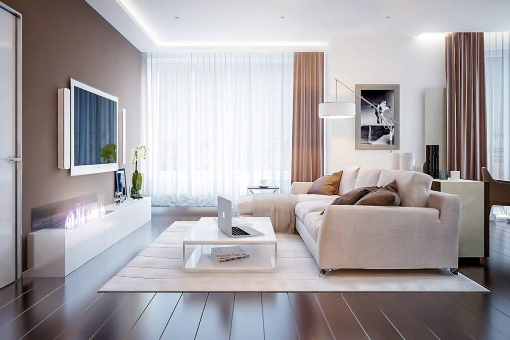 Thiết kế nội thất phòng khách chung cư 70m2 hiện đại. (Ảnh sưu tầm)