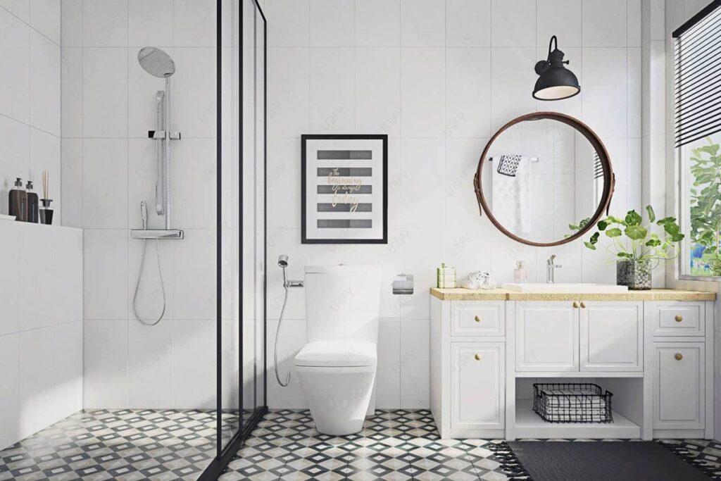 Thiết kế nội thất phòng tắm chung cư 70m2 sạch sẽ, thoáng mát. (Ảnh sưu tầm)