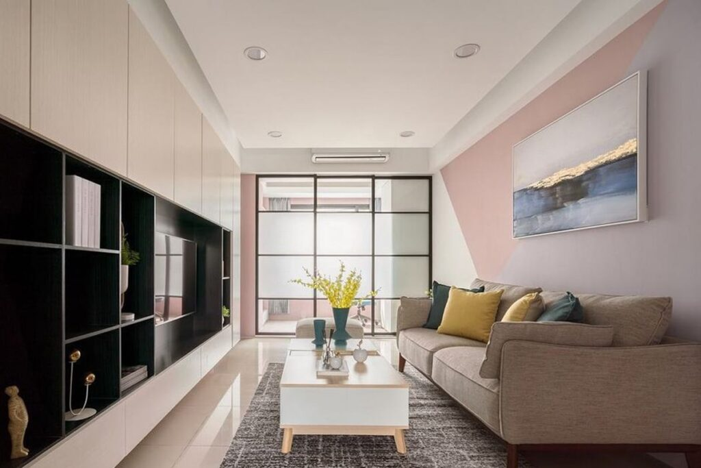 Thiết kế chung cư 2 phòng ngủ với gam màu nhẹ nhàng, tươi sáng. (Ảnh sưu tầm)
