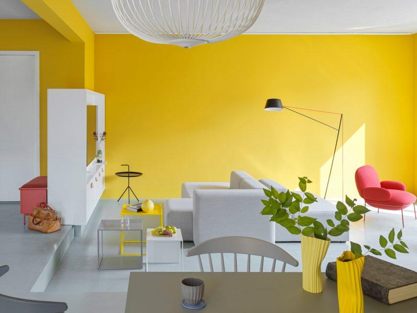 Tone màu vàng với thiết kế nội thất đơn giản dành cho người mệnh Thổ