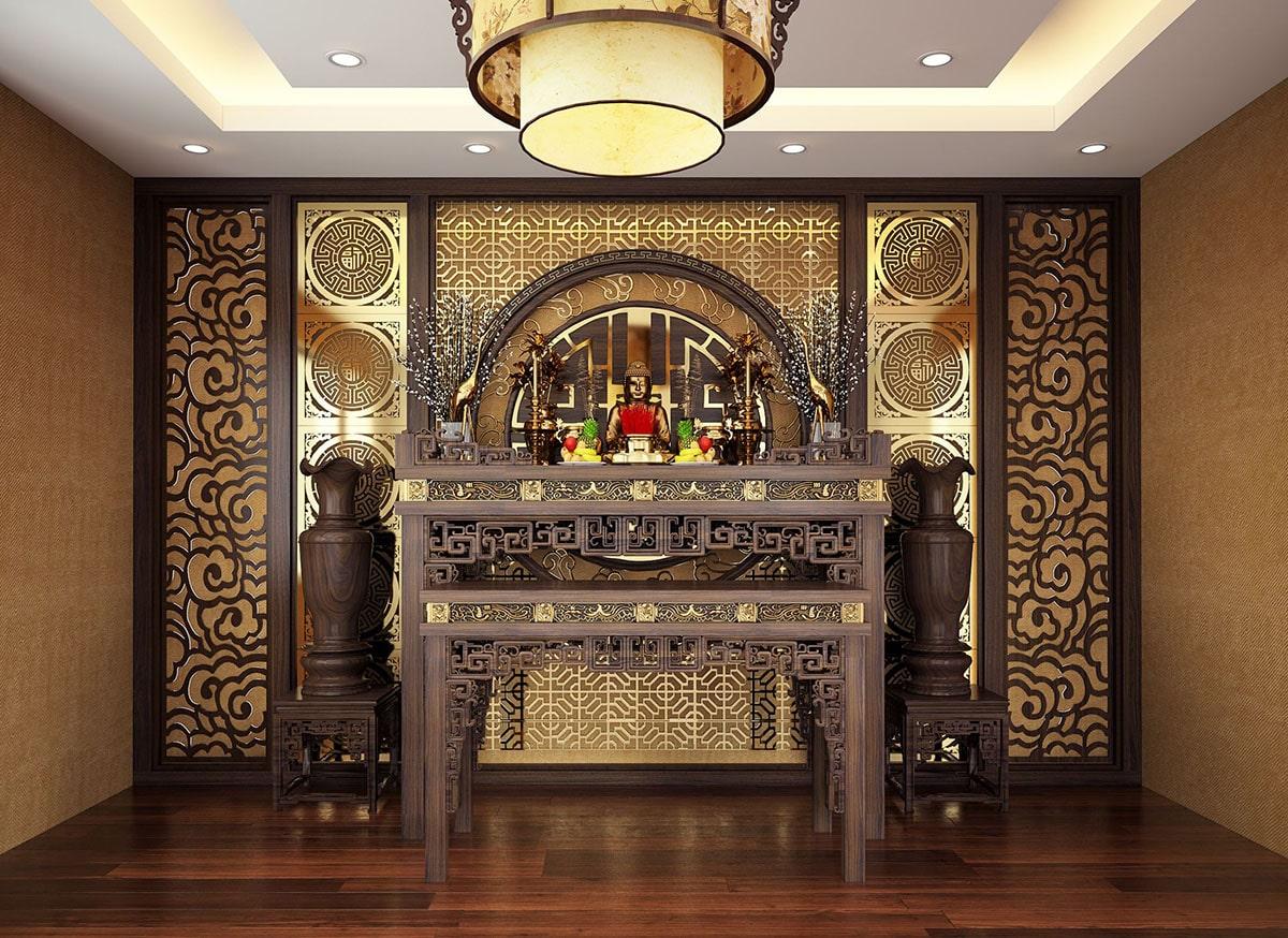 Mẫu bàn thờ đứng được ưa chuộng trong thiết kế nội thất chung cư, căn hộ hiện đại. (Ảnh sưu tầm)
