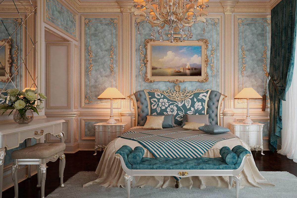 Phòng ngủ ấm cúng theo phong cách thiết kế Baroque. (Ảnh sưu tầm)