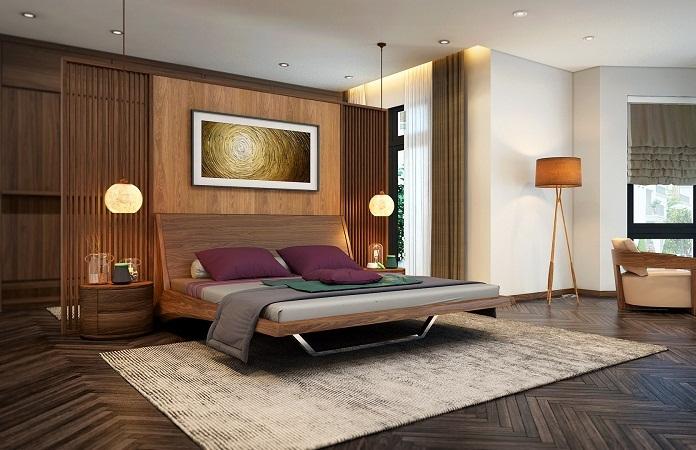 Không gian phòng ngủ biệt thự thường có diện tích rộng rãi, thoáng mát. Ảnh sưu tầm